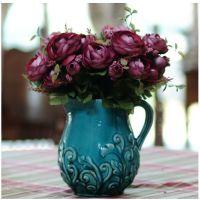 橡树庄园 地中海复古做旧花瓶花器 送4束珍珠茶花 高档家饰摆件