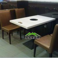 连锁千涮锅火锅桌 餐厅火锅店 大理石火锅一桌两锅桌 品质保证