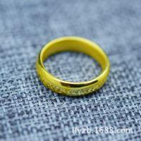龙福源3D硬足金光圈戒指 黄金结婚情侣戒指 纯金光圈戒工厂直销