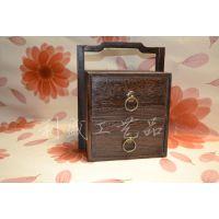中式实木提盒仿古首饰盒双层抽屉式收纳盒针线盒