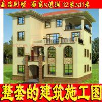 带地下室、游泳池二层高档别致新农村自建房屋设计图12x11米