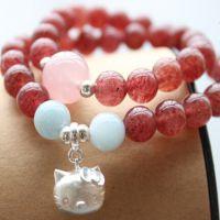 【爆款】天然草莓晶手链女粉色水晶招桃花旺姻缘情人节礼物
