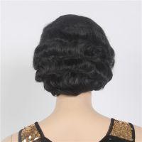 化纤假发厂家直销 黑色复古手推短卷发女 wig古装前蕾丝化纤头套