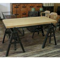 美式工业复古铁艺茶几 loft风格  实木 书桌 办公桌 餐桌铁木结合