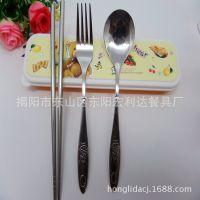 卡通餐具 不锈钢米老鼠图案勺子叉子 创意塑料盒礼品餐具套装