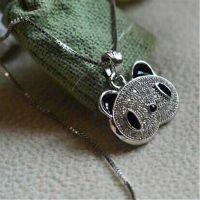 正品925纯银饰品批发 韩版纯银熊猫项链女款 时尚纯银项链爆款