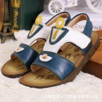 2015夏季新款凉鞋男童中大童牛皮凉鞋儿童拼色真皮透气沙滩鞋童鞋