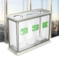 大量供应钢化玻璃铝合金框三桶环卫垃圾桶zd-0089户外透明可视果皮箱