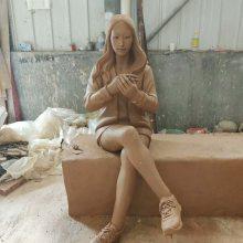 玻璃钢护肤盒雕塑方形彩绘树脂化妆盒雕塑化妆品盒造型休闲凳雕塑