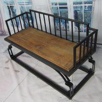 海德利厂家定制 美式咖啡厅/西餐厅沙发 实木铁艺沙发 批发
