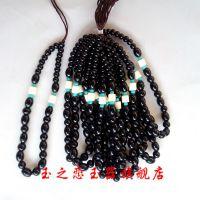 玉石工艺品  高档手把件绳子批发  手工编织绿松石隔珠玉器挂绳