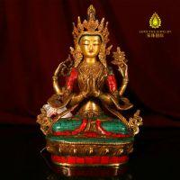 四臂观音纯铜佛像摆件 镶嵌绿松石尼泊尔手工雕刻 做旧 现货特价