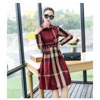 秋季新品 欧美时尚修身气质长袖格子连衣裙 优雅大方女式中长裙