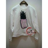 DAZZLE/地素同款2014冬装新款打底衫专柜 菠萝加绒卫衣244F931