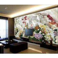 华创鼎瓷砖加工厂 精雕彩绘玉石亮光面 客厅电视墙