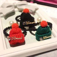 韩国发饰 可爱毛线帽 子珍珠发绳发圈 流行美发饰批发