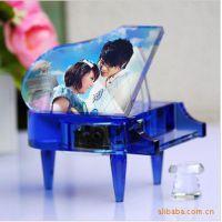 供应水晶钢琴音乐盒礼品(图)水晶办公摆件 水晶照片架摆件