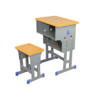 郑州升降式单人位课桌椅 郑州钢木结构单人课桌凳