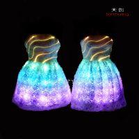 天创发光婚纱礼服LED发光服舞台服饰 发光演出服敬酒服 LED礼服