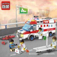 正品启蒙积木玩具1118 城市系列 紧急救护 328块拼插颗粒积木