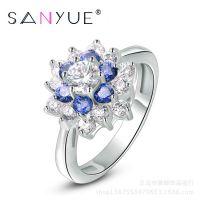 仿真饰品批发 珠宝 速卖通eBay淘宝地摊货源 欧美热销蓝宝石戒指