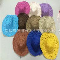 2015新款夏天韩版女帽子沙滩度假手工钩针草帽可折叠大沿帽