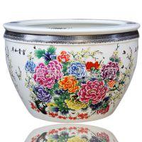 景德镇陶瓷鱼缸 新款瓷器鱼缸釉上彩富贵和平家居摆设摆件 工艺品