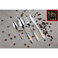 高档不锈钢餐具刀叉勺 工厂直销 酒店用品 镀金镭射激光 礼品餐具 套装定做JZ032