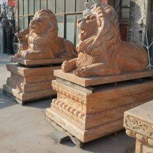 曲阳县万洋雕刻石雕狮子大理石欧式门口镇宅摆件爬狮一对厂家现货加定做