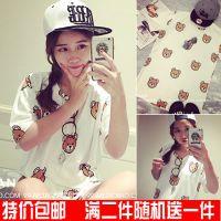 韩妹子2015夏季新款韩版时尚中长款显瘦小熊卡通短袖T恤女打底衫