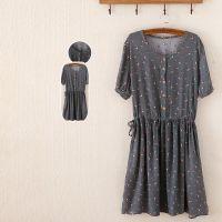 2015新款夏季裙子 日式印染碎花时尚中腰套头短袖连衣裙外贸女装
