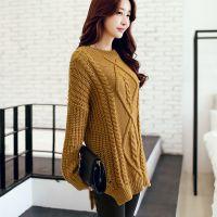 2014秋装新款韩版纯色套头针织衫 中长款长袖打底衫