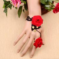 爆款韩版蕾丝手链戒指一体玫瑰花套装 蕾丝手链ebay 速卖通热销款