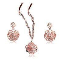 饰品套装 镂空玫瑰花语项链+耳环两件套K250