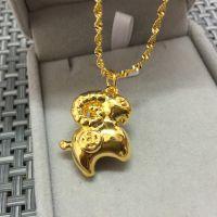 3D金羊批发欧币吊坠项链 欧币女士吊坠仿金项链 仿真黄金项链