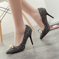 F5698-13新款尖头珍珠粒细高跟鞋优雅OL浅口单鞋女鞋子一件代发
