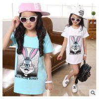 2015款上衣中大童条纹兔子长款休闲韩版儿童短袖长款T恤