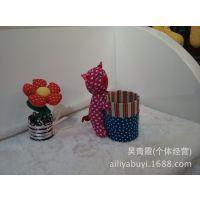 爱丽雅布艺批发创意笔筒 动物头笔筒 布艺玩具 手工布偶笔筒