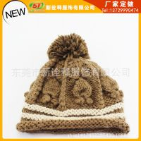 定做冬天必备2014冬季韩版编织手工毛线帽 大球针织帽加厚套头帽