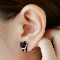 特!韩国热卖 原宿立体珍珠动物小豹子猫咪穿刺耳钉男女款