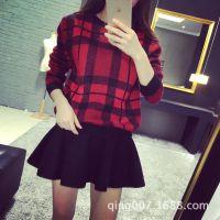 格子毛衣女套头短款学生秋冬打底衫针织冬款女士线衣韩版加厚复古
