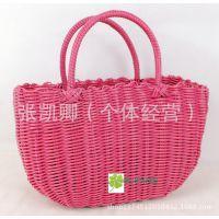 供应编织工艺品编织篮 手工编织篮 脏衣塑料收纳篮 草编水果篮子