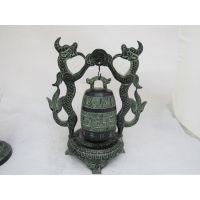 春秋战国青铜双龙钟|龙鼎青铜器|铜工艺品仿古摆件 批发