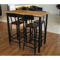 铁画专业定制美式星巴克长桌椅组合吧台椅实木铁艺会议桌电脑桌复古咖啡桌餐桌