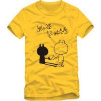 男女情侣装小兔子孤独是一种态度男女个性纯棉兔基斯短袖T恤批发