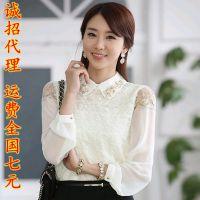 2014秋季新女装蕾丝衬衣女韩版长袖女打底衫女雪纺衬衫OL衬衣5102
