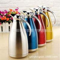 厂家直销不锈钢双层真空保温咖啡壶欧式壶企鹅壶彩色壶热水瓶