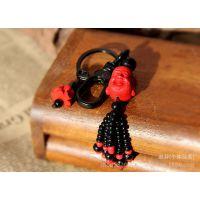 民族红漆雕钥匙扣(图案混配) 中国风创意红朱砂钥匙扣包饰挂件