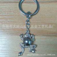 迷你小青蛙金属钥匙扣 招财进宝镶钻动物钥匙链挂件 赠品礼品批发