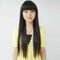 假发女生长直发齐刘海 甜美可爱圆脸女生修脸长发 自然女发型可扎图片